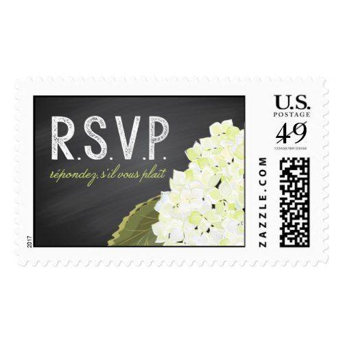 White Hydrangea Chalkboard Mason Jar Wedding RSVP Postage