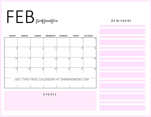 February 2019 Calendar Agenda Free Printable February 2019 Calendar: 12 Awesome Designs