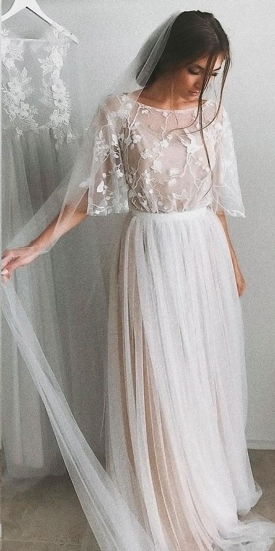 Half Sleeve Wedding Dresses A-line Elegant Simple Romantic Lace Bridal Gown #romanticlace Half Sleeve Wedding Dresses A-line Elegant Simple Romantic Lace Bridal Gown #romanticlace