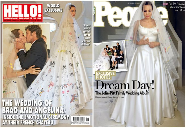 The First Photos From Brad And Angelina S Wedding Have Been Released And In True Jolie Pitt Fashio Wedding Dresses Angelina Jolie Wedding Dress Iconic Weddings