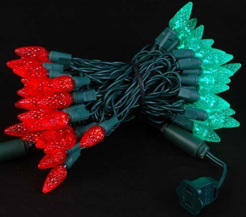 24 Feet Novelty Lights 70 Light C6 LED Christmas Mini Light Set Green Commercial Grade Outdoor String Lights Green Wire
