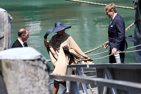 King Willem-Alexander and Queen Maxima during their visit to the Spirit of New Zealand Youth Training Vessel at Princes Wharf on Nov. 9, 2016.