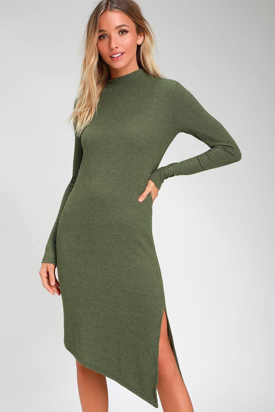 Fernley Olive Green Ribbed Long Sleeve Midi Dress Long Sleeve Midi Dress Short Green Dress Long Green Dress [ 1680 x 1120 Pixel ]