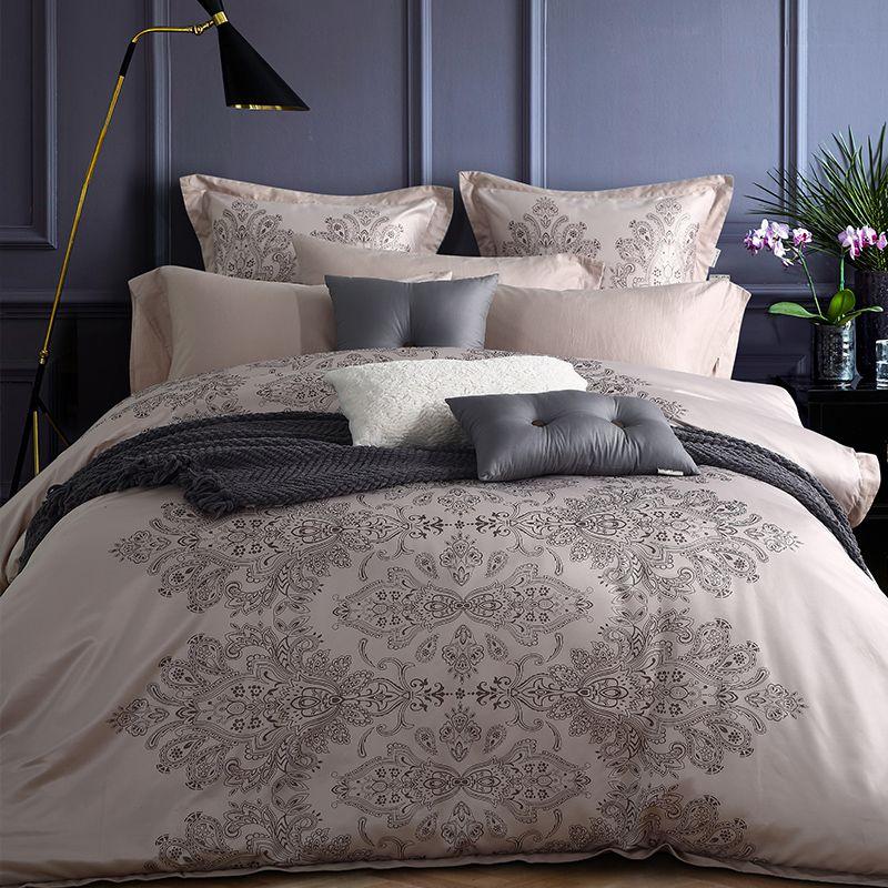 coton de soie de luxe positionnement impression ensemble de literie couette housse de couette avec coussin reine king size draps couvre lit dans ensembles