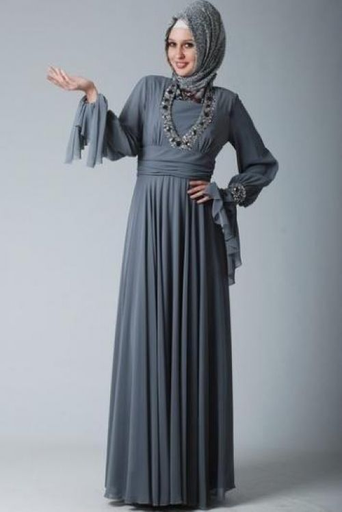 تصاميم ازياء تركية للمحجبات 2015 Grey Long Sleeve Dress Indigo Maxi Dress Dresses