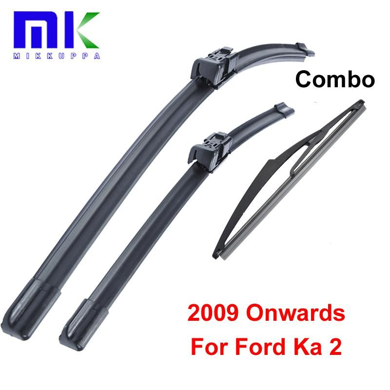 Combo Silicone Rubber Front And Rear Wiper Blades For Ford Ka 2