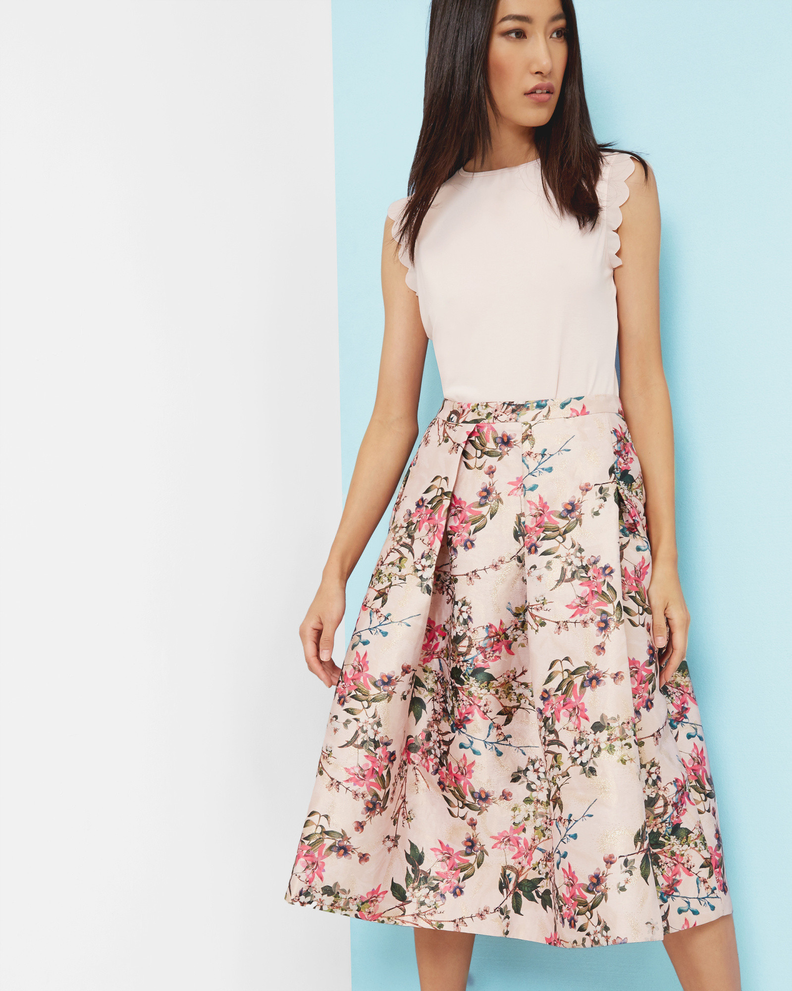 ce22853be7 SHOP SS17: Ted's Blossom Jacquard midi skirt is the perfect piece to wear  from winter to summer. Style it with a soft pink or neutral hue and  charming bow ...