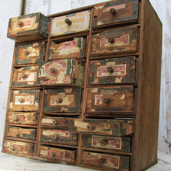 Antique cigar box cabinet drawers shabby chic rustic organizer hand made wood framed art decor anita spero on Etsy, $350.00