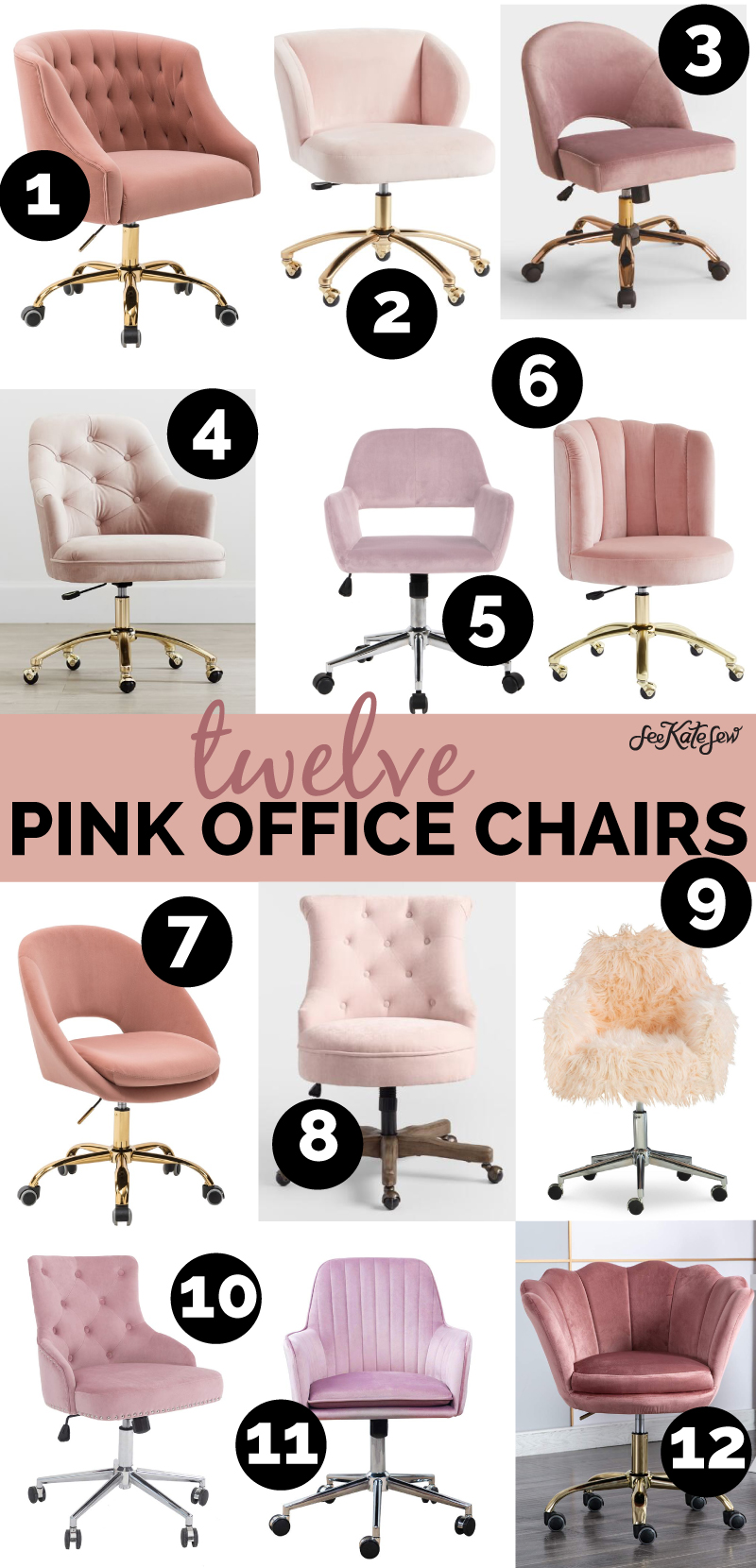 12 Pink Rolling Office Chairs For Your Sewing Room See Kate Sew