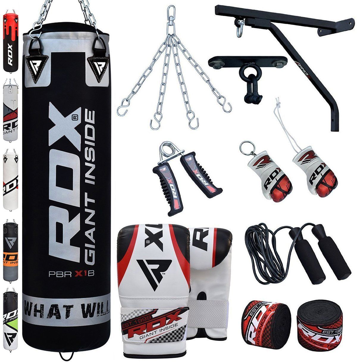 RDX Women Punch Bag Filled Set Pink Ladies Kick Boxing Heavy MMA Training Gloves Punching Mitts Hanging Chain Muay Thai Martial Arts 4FT