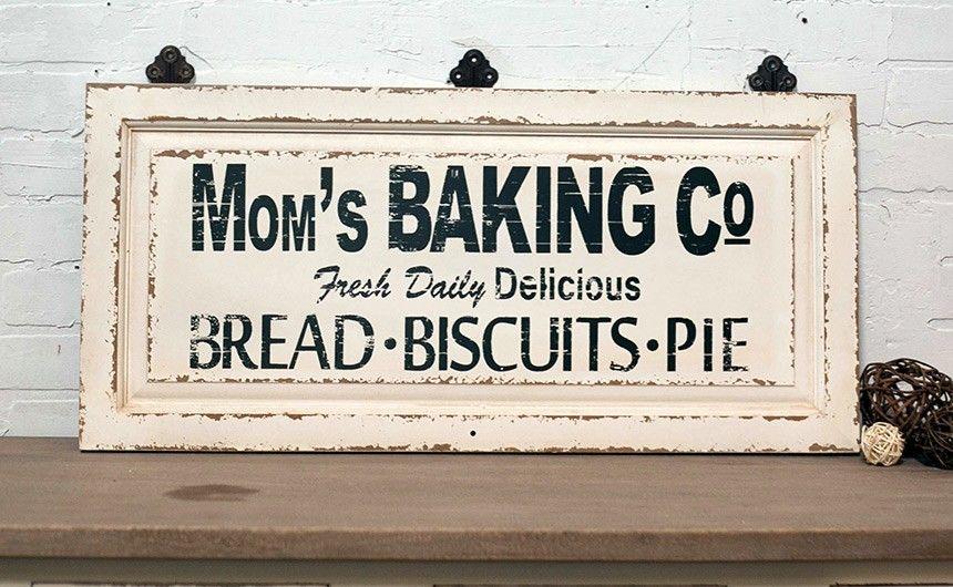 Baking Sign Vintage Bakery Sign Antique Signage Vintage Kitchen Signs Kitchen Signs Wooden Kitchen Signs