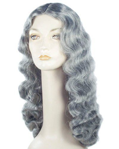 Grandma-Addams-Long-Wavy-Gray-Hippie-Costume-Wig-30-Length
