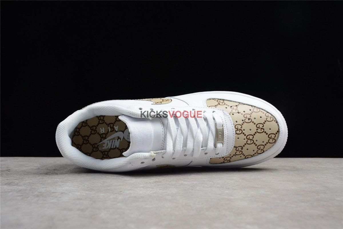 new style d2026 69af2 Custom Nike Air Force 1 Low Gucci Monogram Print G-Classic Gold