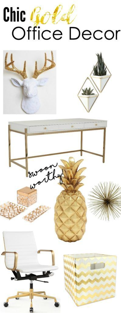 Chic Gold Office Decor to Inspire Creativity is part of Creative Office decor - Gold is in, and organization and productivity will always be in  This list containing gold office decor will inspire you to jazz up your creative space
