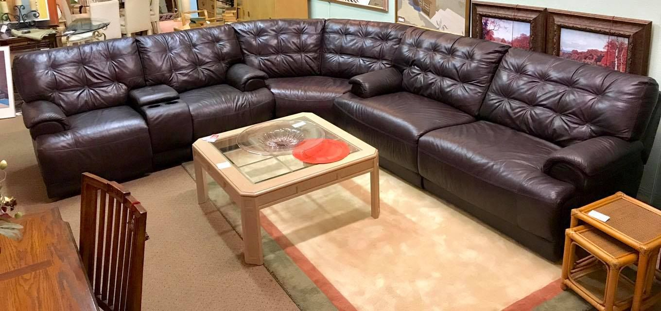 Large Three Piece Sectional Electric Reclining Leather Sectional