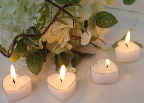Spring RoseTM White Wedding Heart Shaped Candle Favors Set Of
