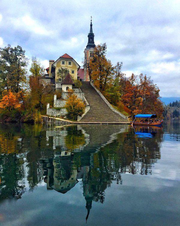 Bled Island on Lake Bled, Slovenia | Photo by @nesimenur