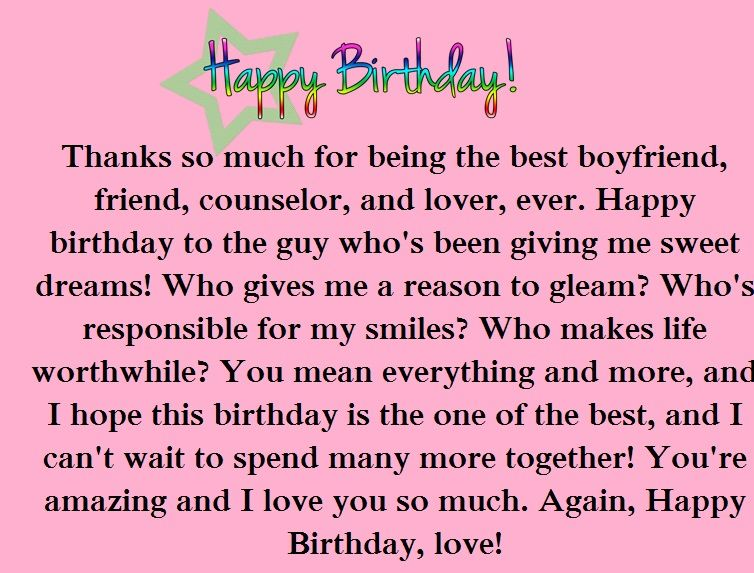 Message to your boyfriend birthday