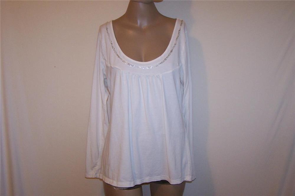 ANN TAYLOR LOFT Sz XL Shirt Top Cream Sequins Spandex Stretch Long Sleeves #AnnTaylorLOFT #KnitTop #Casual