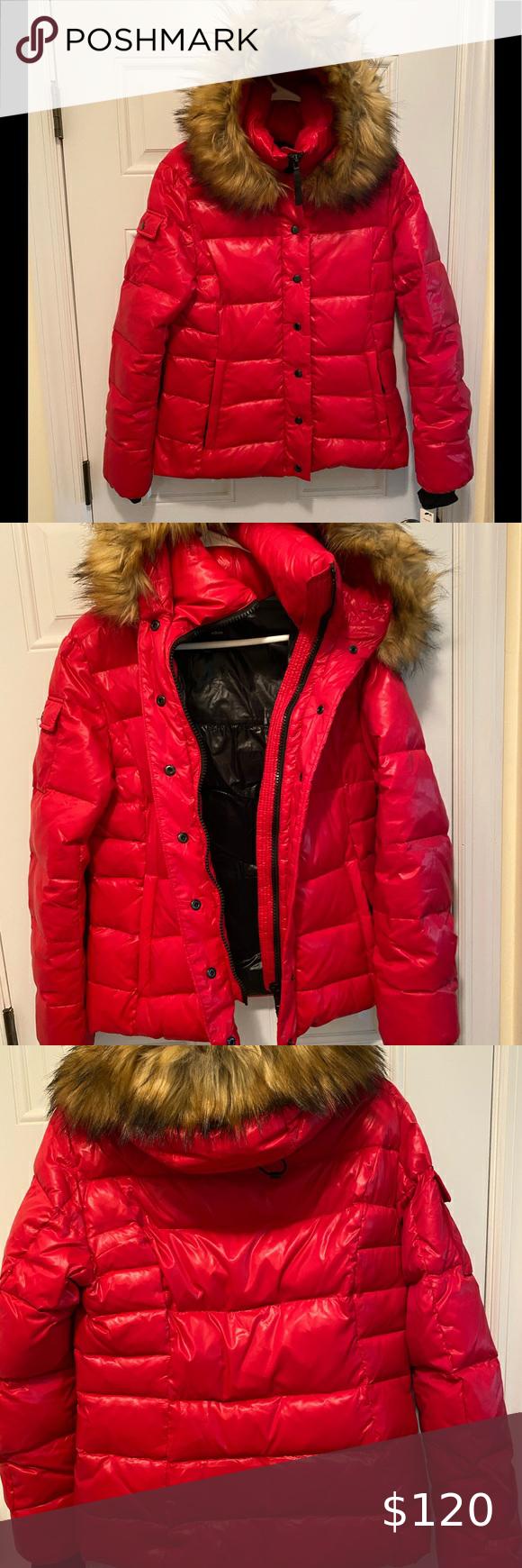 Puffer Jacket With Fur Trim Hood Aqua Red Size M Puffer Jacket With Fur Red Puffer Jacket Clothes Design [ 1740 x 580 Pixel ]