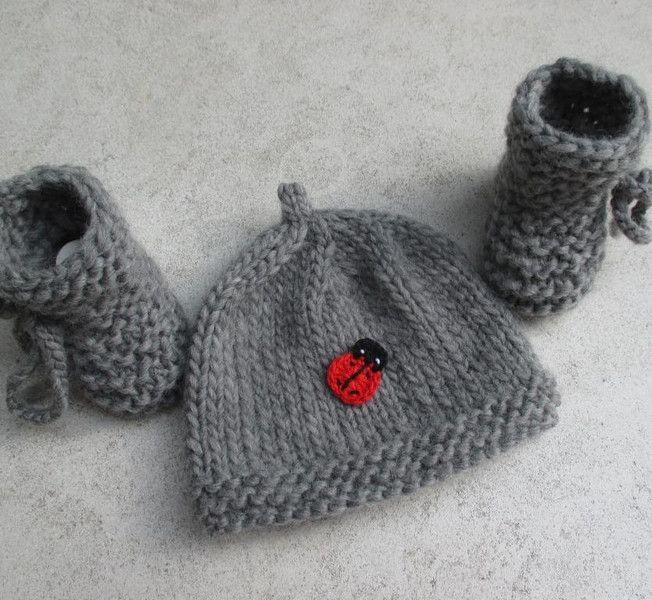 Strick- & Häkelschuhe - Babyset 100% BIOWOLLE Extrawarm - ein Designerstück von Babymaschen bei DaWanda