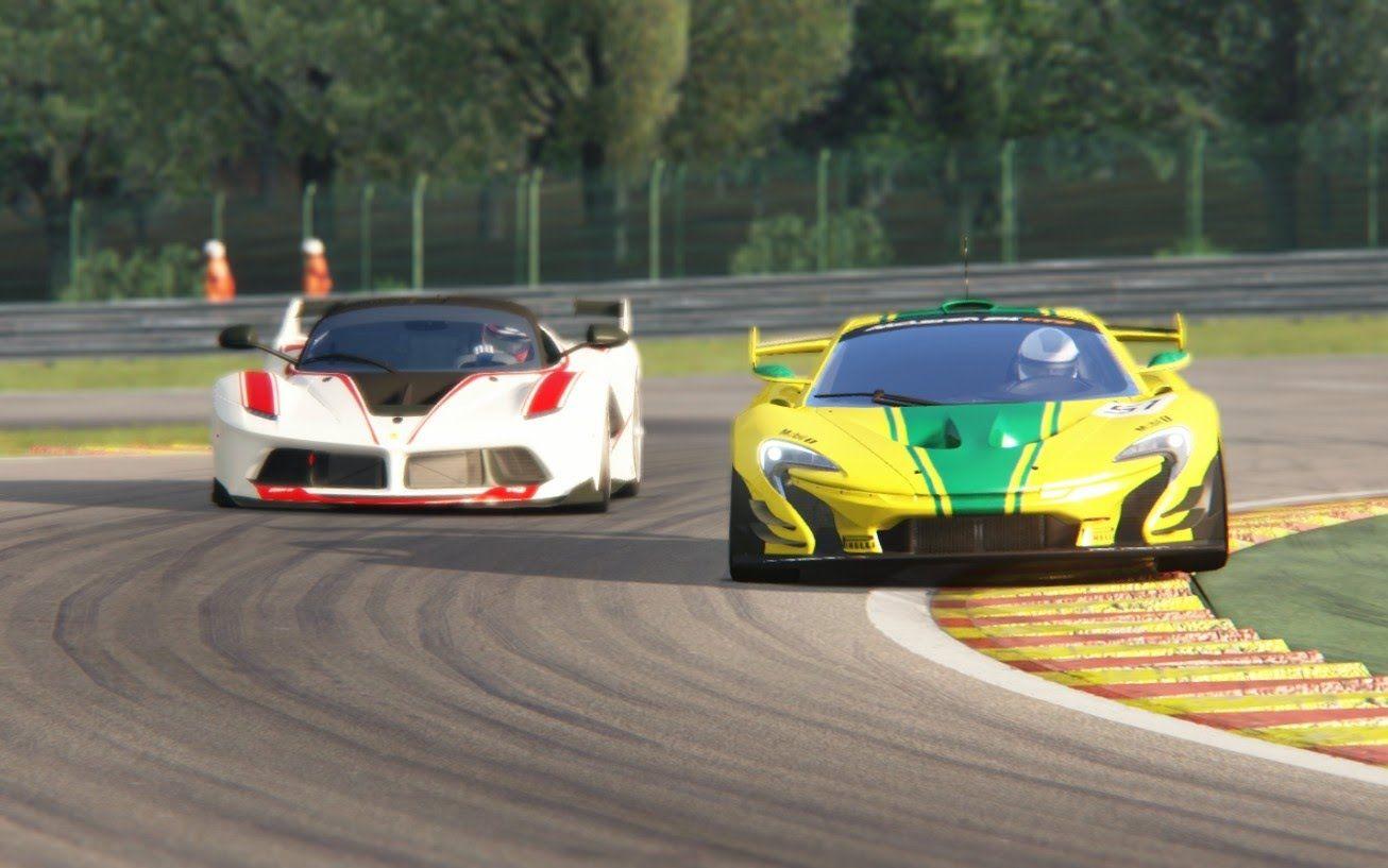 assetto corsa - racing mclaren p1 gtr x ferrari fxx-k at spa