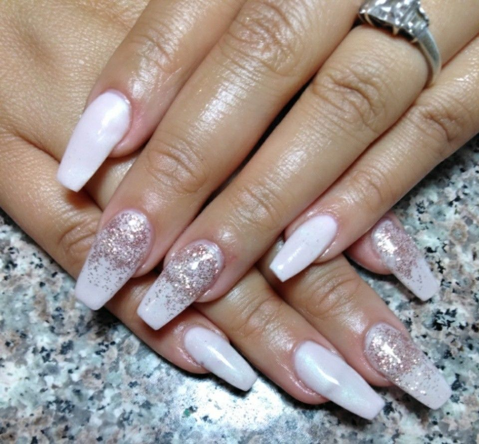 Gel nails Pink coffin nails with glitter fade | BeautyK Nails 505 ...