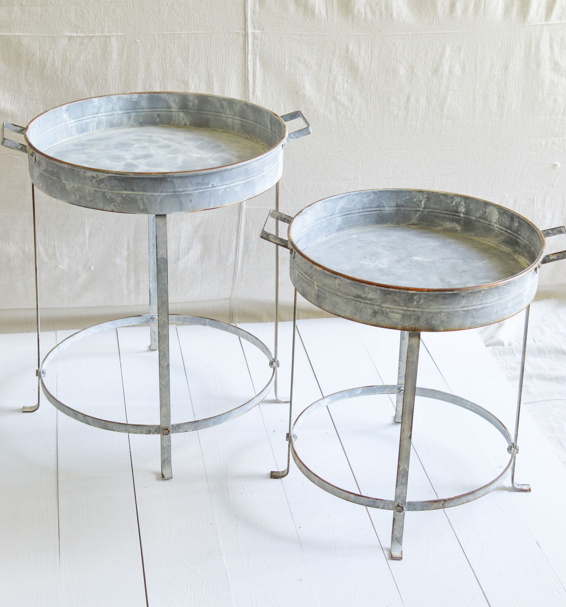 Round Metal Tray Table Small