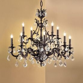 Classic Lighting Majestic 12 Light Aged Bronze Crystal Accent Chandelier