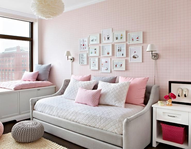 Heather Gray And Pink Girl S Room Features Walls Clad In Pink Plaid Wallpaper Lined With A