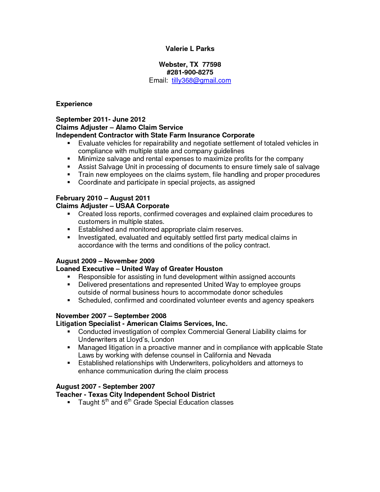 Claims Adjuster Resume Sample