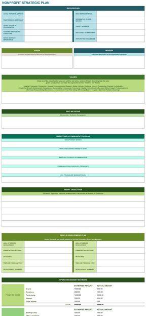 Nonprofit Strategic Plan Template | Non Profit Strategic Plan Excel Template Strategic Pinterest