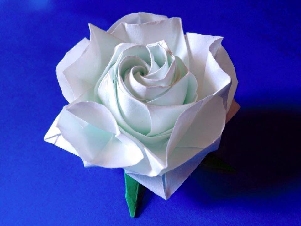 達人折りのバラの折り紙30 Only one origami rose30   Origami Animais e ...