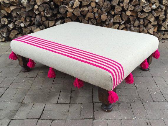 Moroccan Boho Pom Pom Tassel Hot Pink Stripe Blanket Footstool Ottoman Bespoke Made To Order Custom Ottoman Boho Furniture Footstool