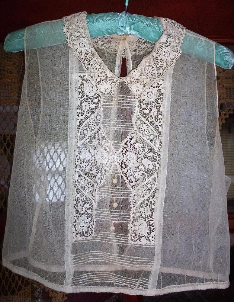 ANTIQUE~EDWARDIAN~ECRU NET EMBROIDERED LACE CAMISOLE CORSET COVER EX COND.