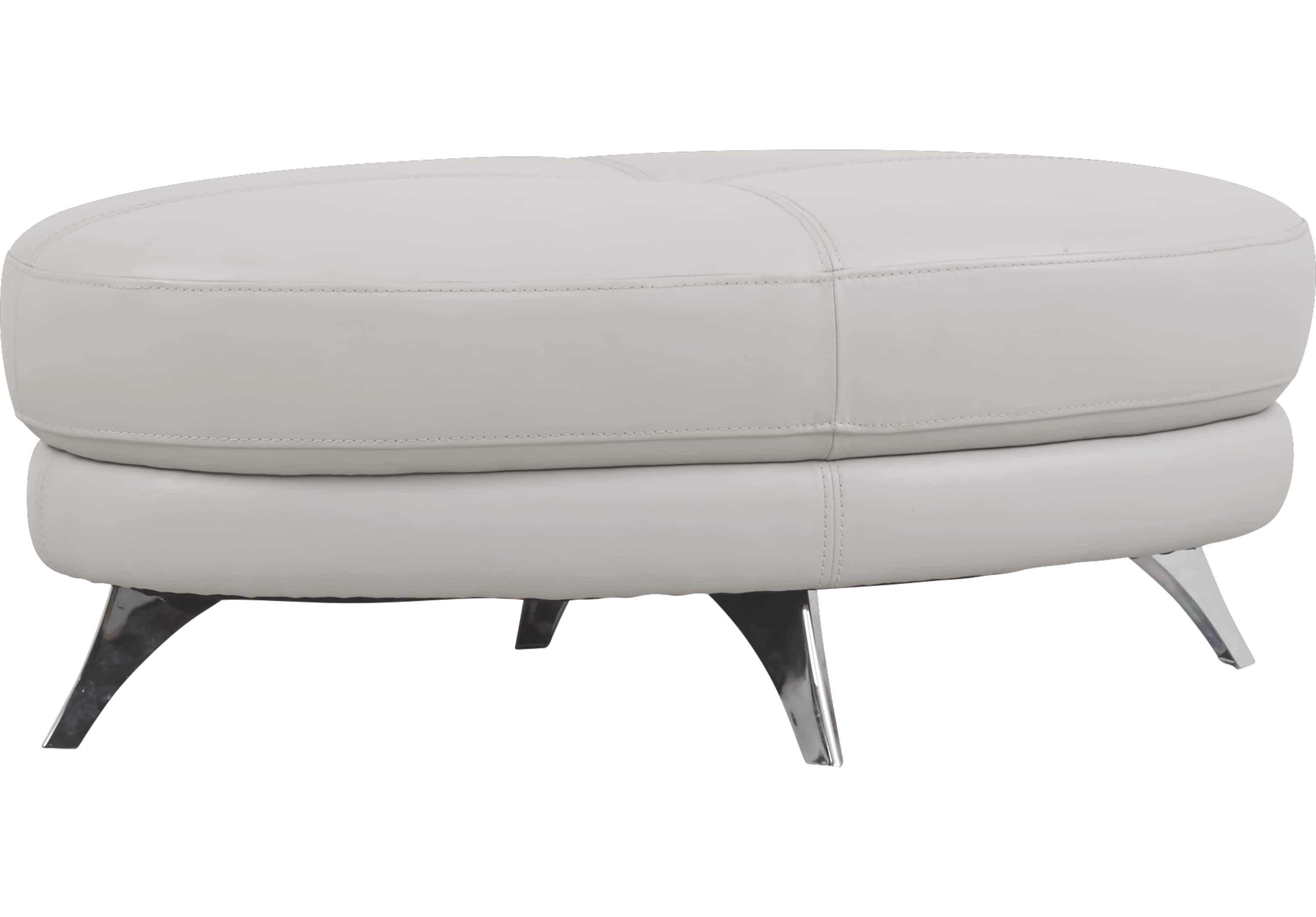 Modena Gray Leather Cocktail Ottoman Cocktail Ottomans Gray
