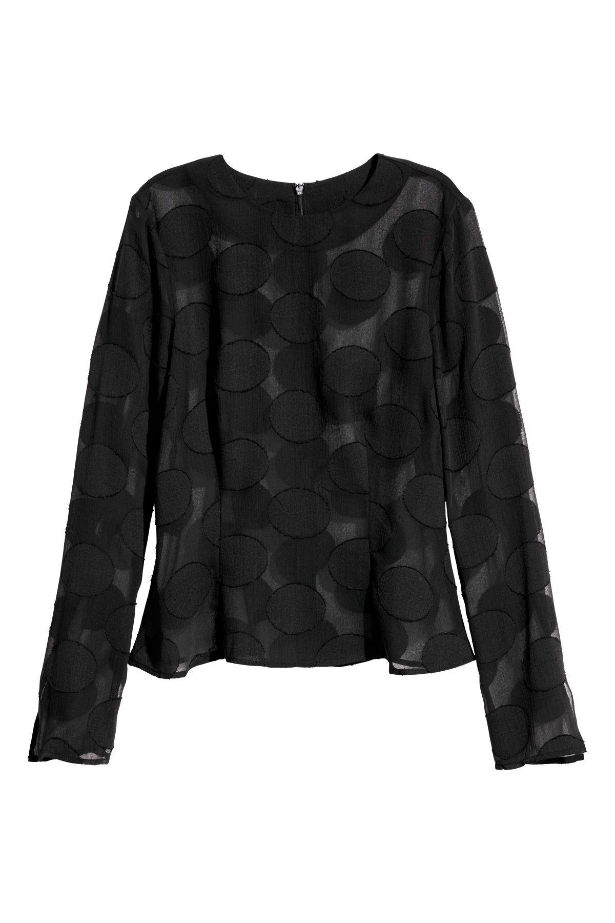 b533de39 Long-sleeved Top | Black/jacquard | WOMEN | H&M US | Fashion | Tops ...