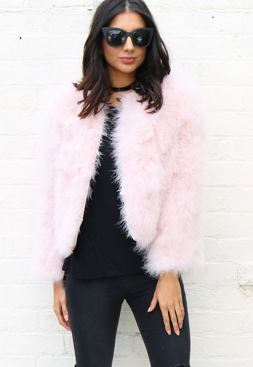 36957934354 Fluffy Ostrich Feather Marabou Jacket in Light Pink - One Nation Clothing -  One Nation Clothing - 1
