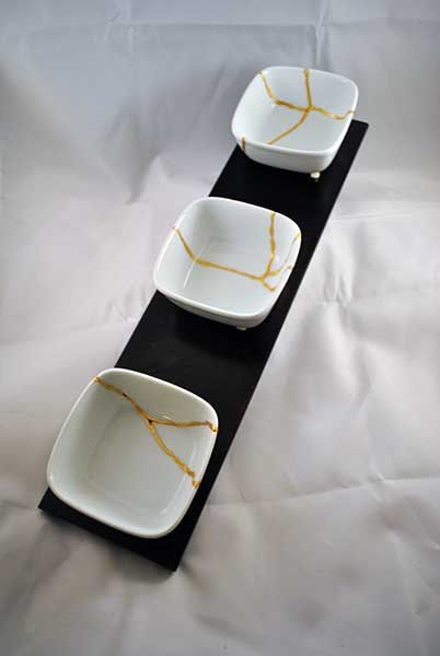 "Kintsugi Bowls - Thrice Broken 3"" Bowls with numerous gold seams - Kintsukuroi Art"