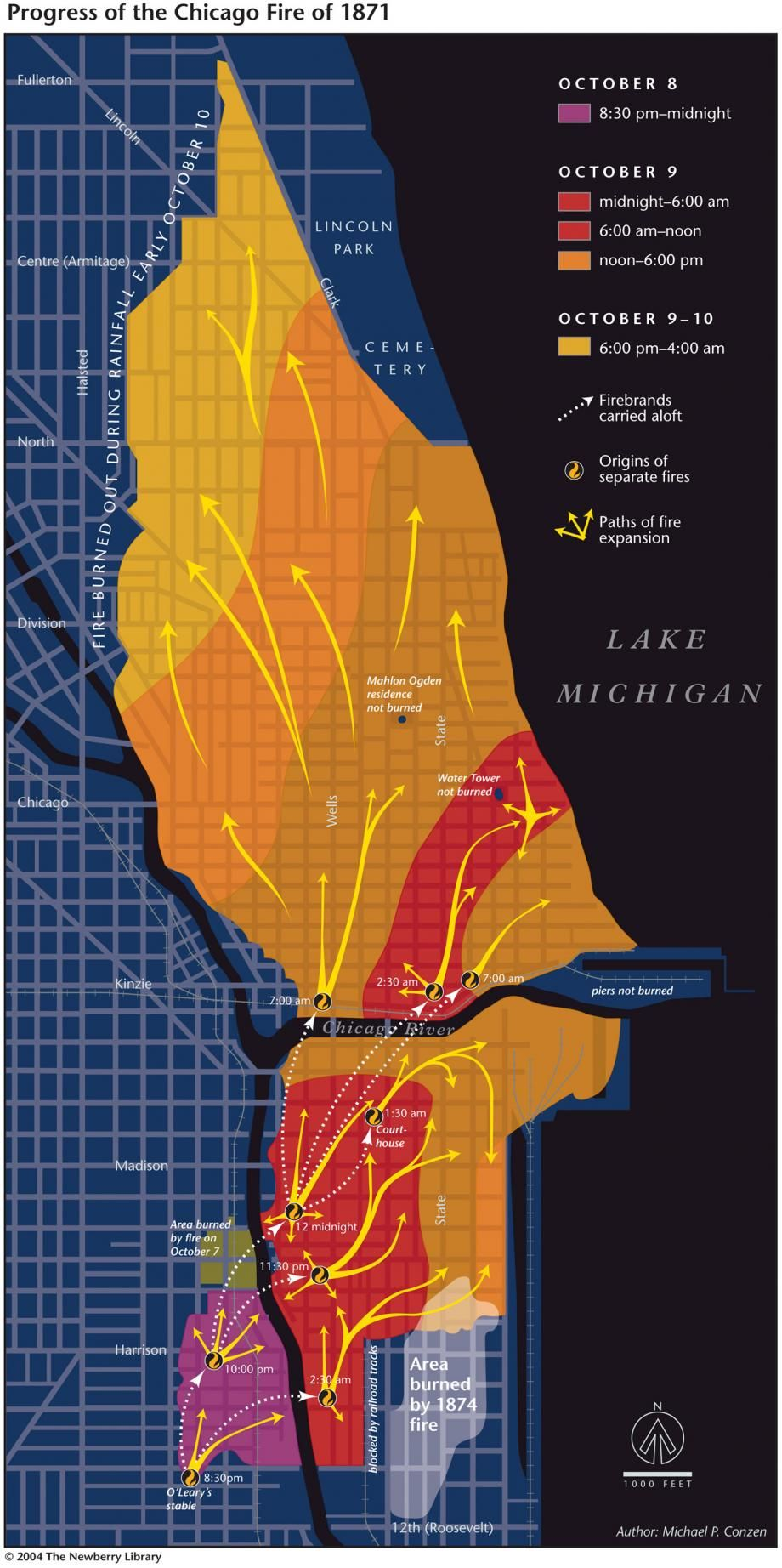 Progress Of The Chicago Fire Of 1871 Michael P Conzen With