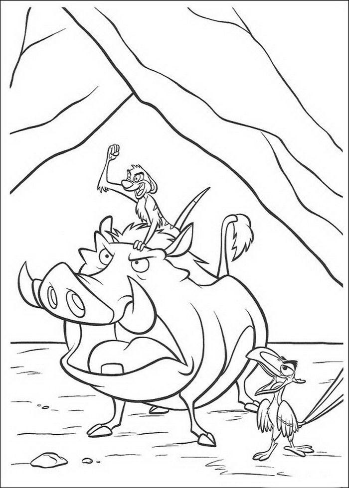 kleurplaat Lion King of de Leeuwenkoning - Timon, Pumba en Zasu ...