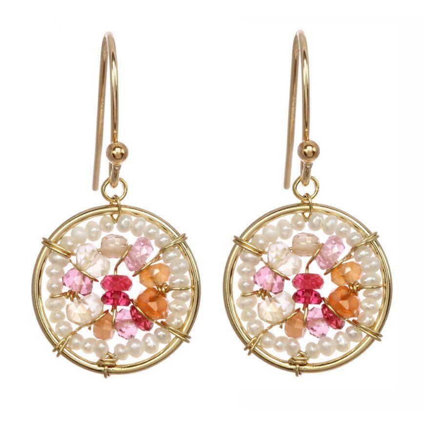 Michelle Pressler Earrings Pink Quartz and Carnelian Circles 2489