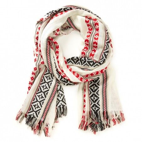 Women's Cream Red Viscose Lightweight Fair Isle Scarf by Sole ...