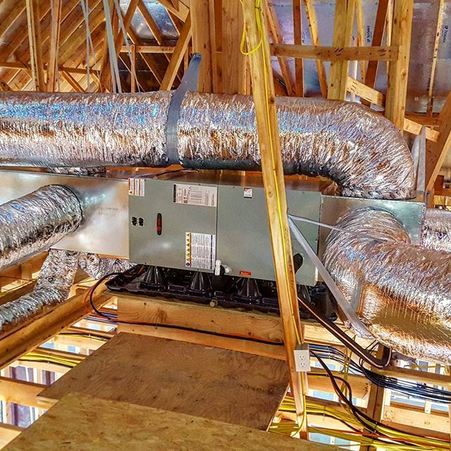 Phase 1 Of The Install Is Complete On A New House Trane Airhandler Heatpump Countrycomforthvac Hvacr Workflo Hvaclife Hvac Newconstruction Attic H
