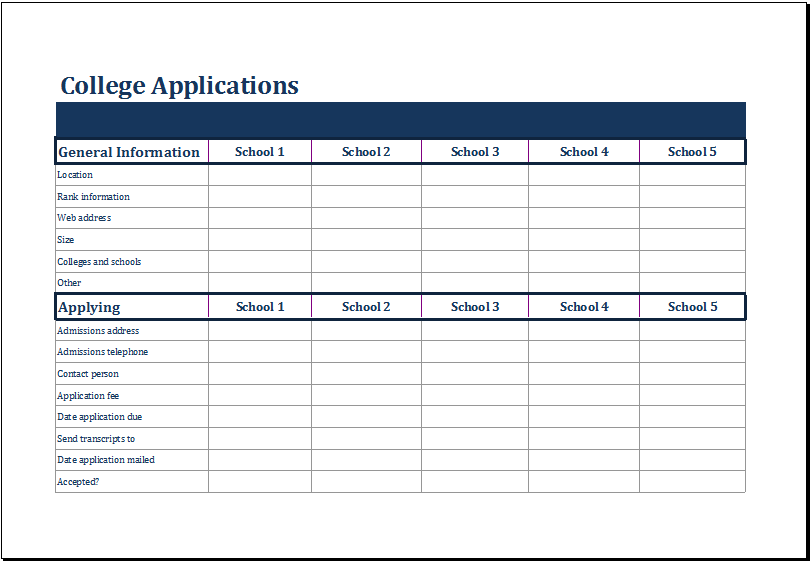 Ms Excel College Comparison Worksheet Template Excel Templates Worksheet Template College Application Organization College Application
