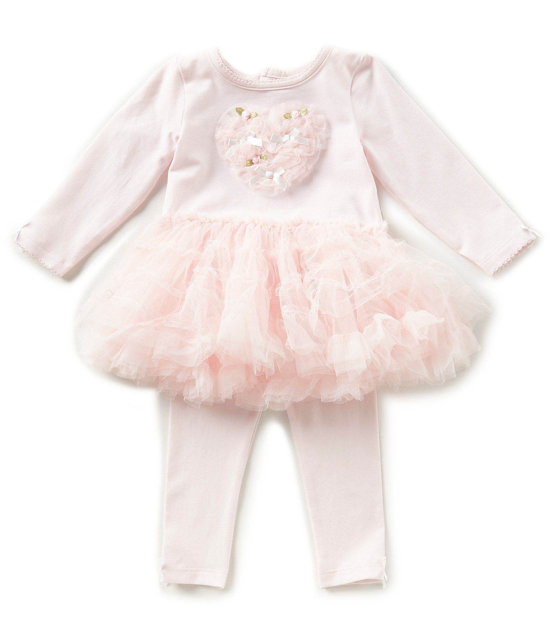 Edgehill Collection Baby Girls Newborn 6 Months Tutu Heart Top