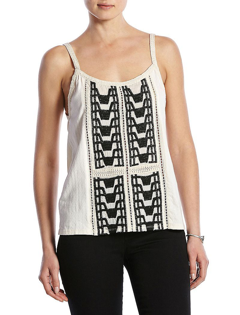 Lucky Brand Step Embroidered Tank Womens - Nigori (S)