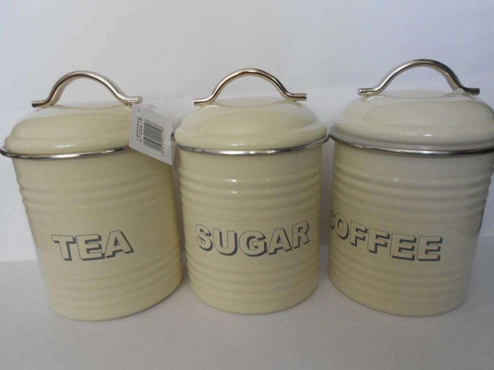 Vintage Style Cream Tea Coffee Sugar Kitchen Storage Canisters Jars Pots Tin Set