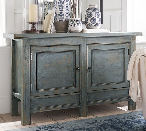 Molucca Media Console Distressed Blue  Lola at home
