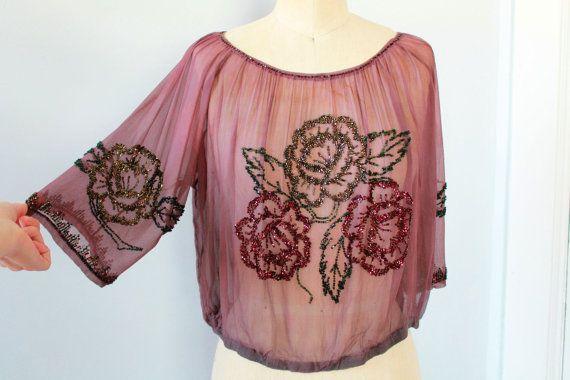 Sheer Pale Pink Silk 1920s Blouse